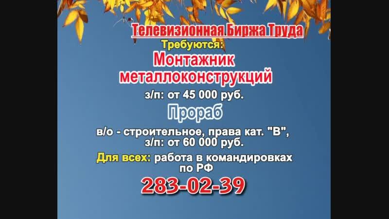 21 ноября _08.30_Работа в Нижнем Новгороде_Телевизионная Биржа Труда