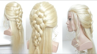 Simple Everyday Hairstyle For Long Hair With 5 Strand Braid.