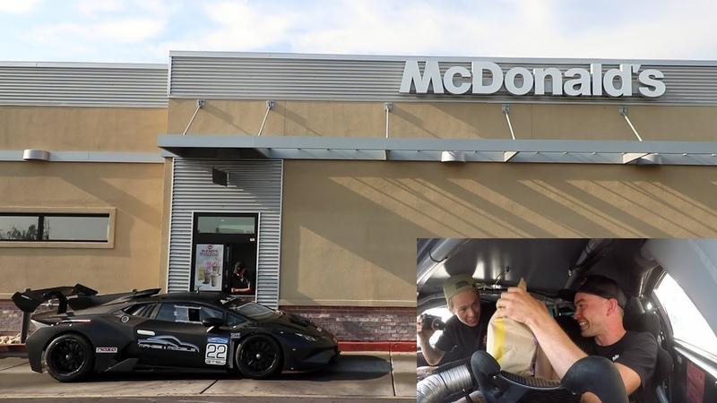 Driving an ILLEGAL Lamborghini Racecar thru McDonalds wTanner Fox