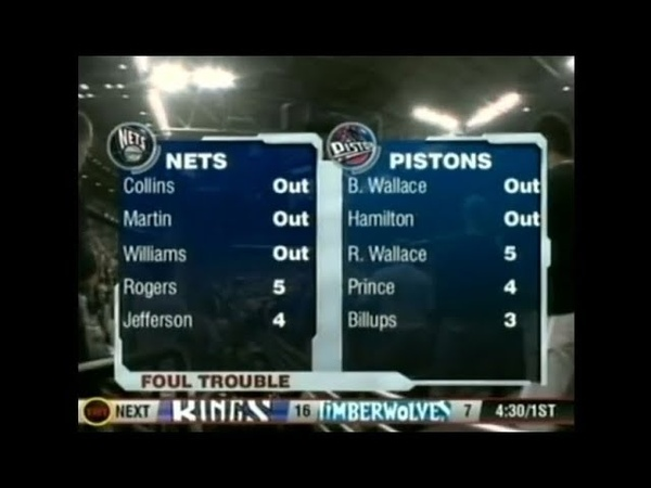 Eight Players Fouls Out of Pistons Nets Playoff Game 2004