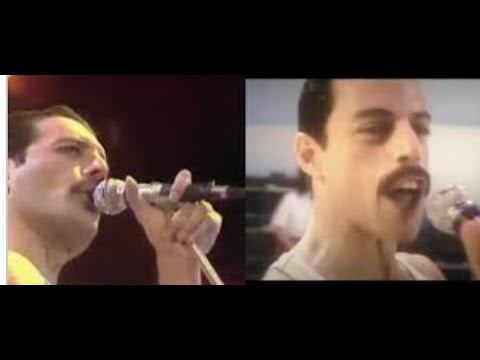 Queen Live at LIVE AID Side By Side Comparison with Rami Malek (Bohemian Rhapsody 2018)