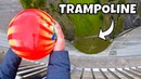BOWLING BALL Vs TRAMPOLINE from 165m Dam