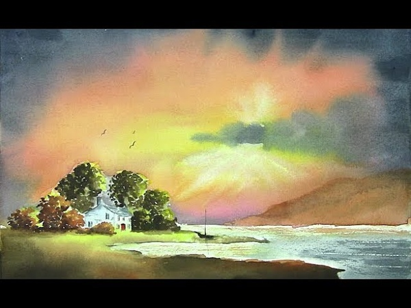 HOW TO PAINT SUN RAYS IN A SUNSET SKY AND CREATE A FOCAL POINT IN YOUR PAINTING....SUNSET GLORY