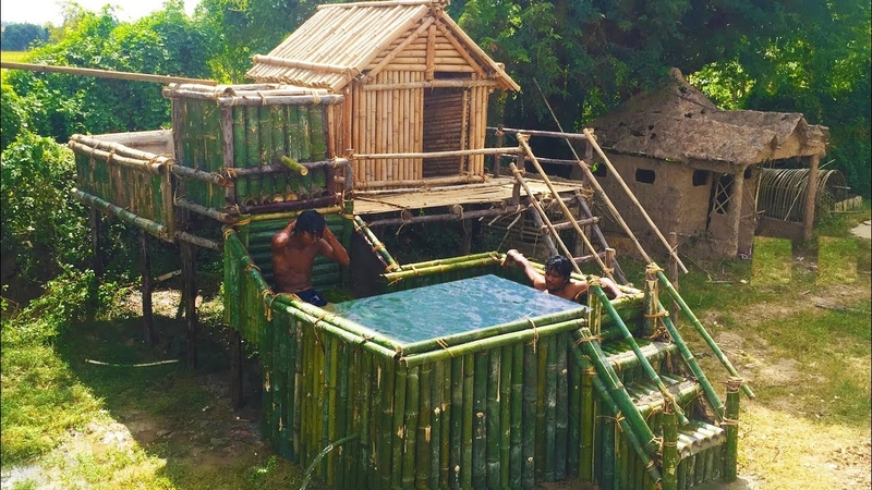 Build Beautiful Bamboo Swimming Pool and Shower Tank