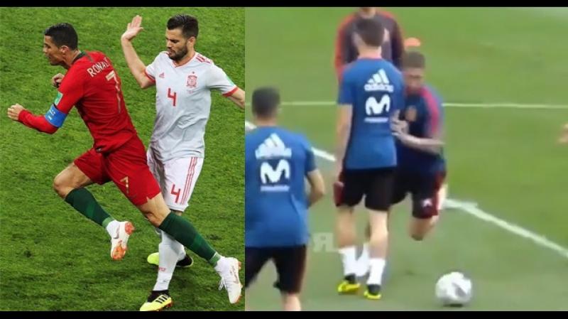 Рамос пародирует падение Роналду в штрафной сборной Испании на тренировке