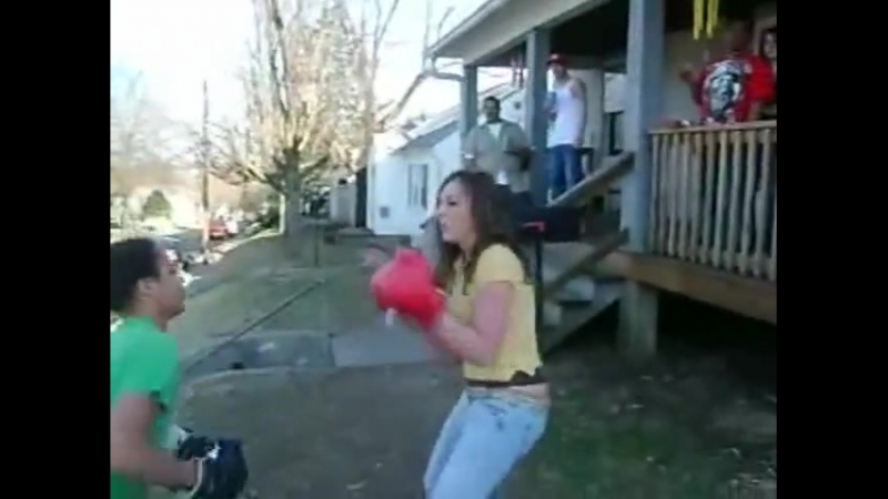 Teen Girl in low Rise Jeans Boxing