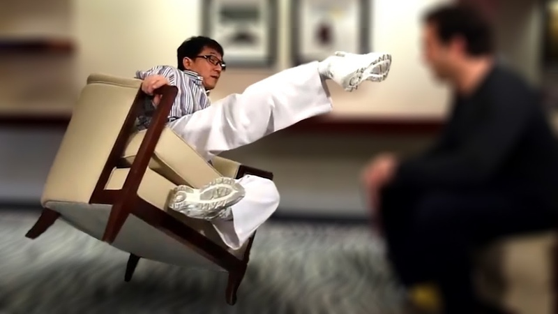 Jackie Chan Doing Stunts in Interviews and Beating Conan