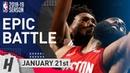 James Harden vs Joel Embiid EPIC DUEL Highlights Rockets vs 76ers 2019.01.21 - 37 Pts for Beard!