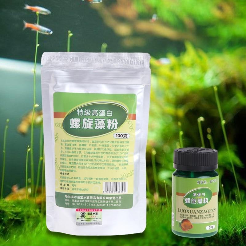 Порошок спирулины можно использовать в качестве дополнения к корму для животных для аквариумов.
