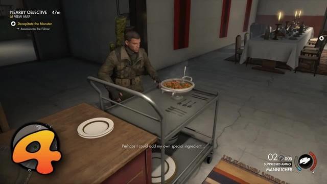 Sniper Elite 4 soup with grenade for Fuhrer