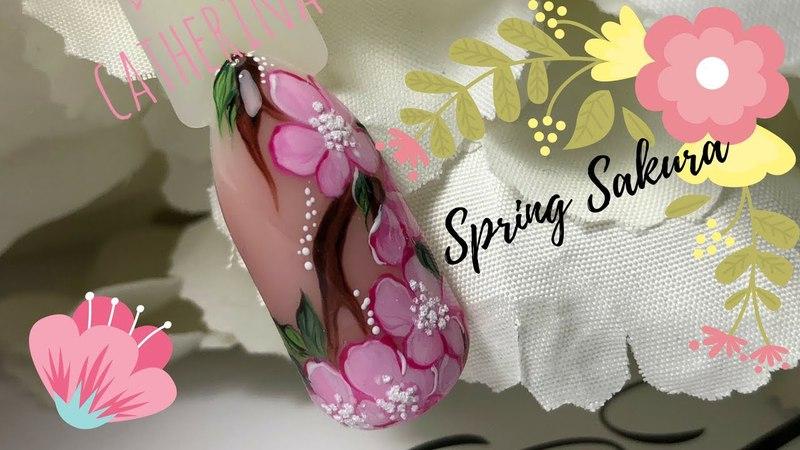 Nail Tutorial: Spring Sakura 🌸.Cherry Blossom Nail  Весенний Маникюр.Сакура