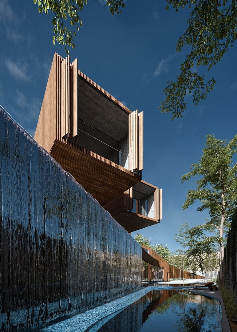 Cantiliver villa in Iran by Azeri lotfolahi results from the site's topography curves