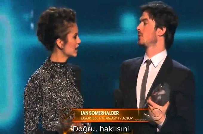 Ian Somerhalder Nina Dobrev win People's Choice for Favorite On-Screen Chemistry [Altyazılı]