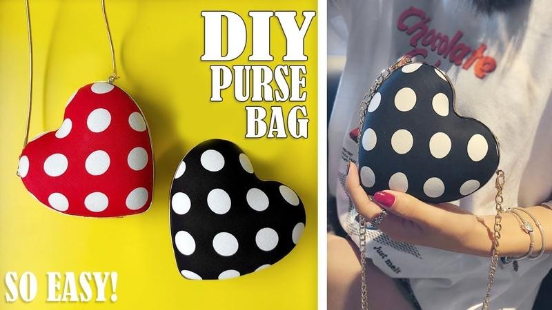 DIY HEART PURSE BAG TUTORIAL Cute Dotted Mini Bag Design No Sew