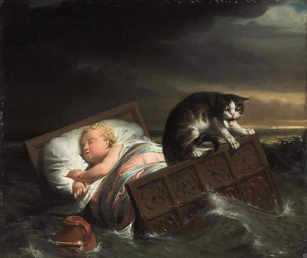 ИСТОРИЯ В КАРТИНЕ. На картине легендарный эпизод: после наводнения люди вышли из укрытий, посмотреть на разрушения и поискать уцелевших. Увидели колыбель, прибитую к дамбе по ней, как