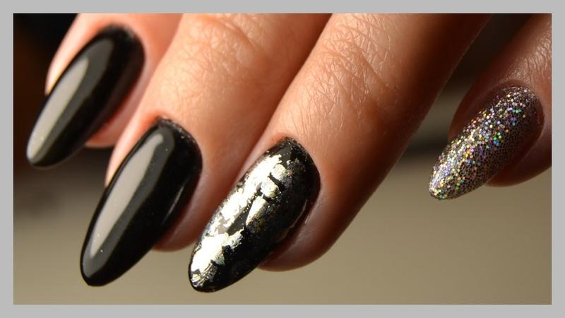 Дизайн ногтей гель-лаками: Фольга и голографические блестки