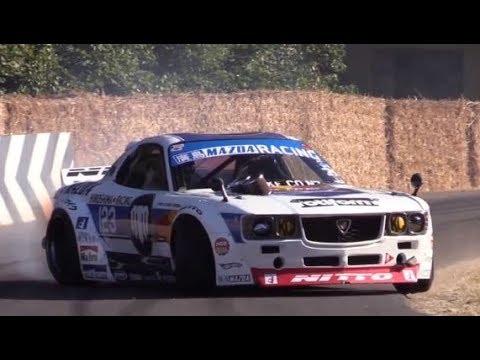ド迫力!4ローター!RX37 ?全開走行!26B、RX7 RX3 MAZDA CRAZYな車達!WRC street race drift engine swaps Crazy Car