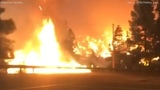 Woman captures dramatic video driving through flames while fleeing Woolsey Fire in Malibu ABC7