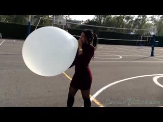 Trailer girl bursting balloons - a giant 40 balloon at the club- amanda h - loon