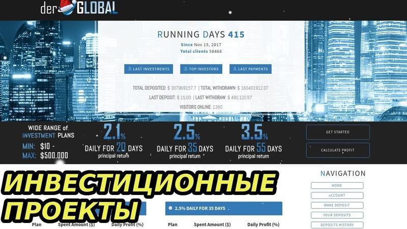 Инвестиционный Проект Derglobal Обзор 2019 Платит от 2 1% в сутки Депозит на 20 дней