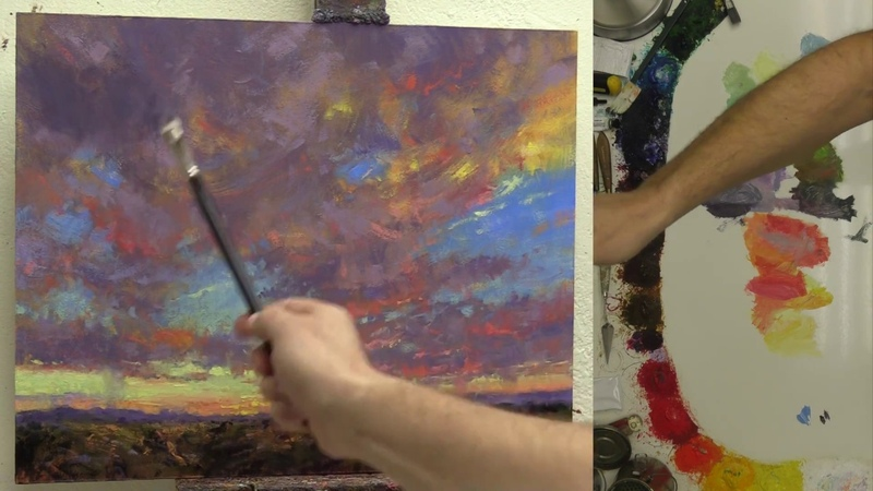 Rocky Mountain Sunset Oil Painting Fast Motion with Instruction