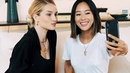 Aimee Song shows Rosie Huntington Whiteley what's in her makeup bag