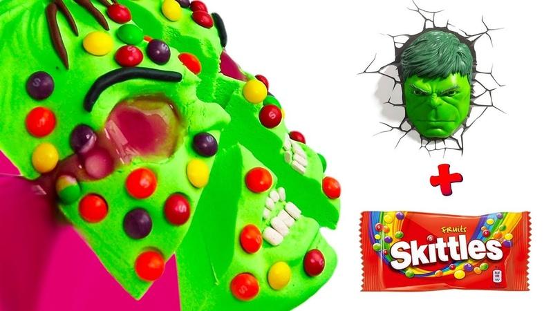 DIY Сделай Сам Торт Халк Skittles из кинетического песка
