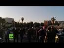 Damaskus Menschen ziehen auf die Straße um gegen US geführte Luftangriffe zu protestieren