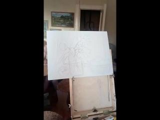 Моя новая живопись.А Наташа тоже приобщилась к искусству