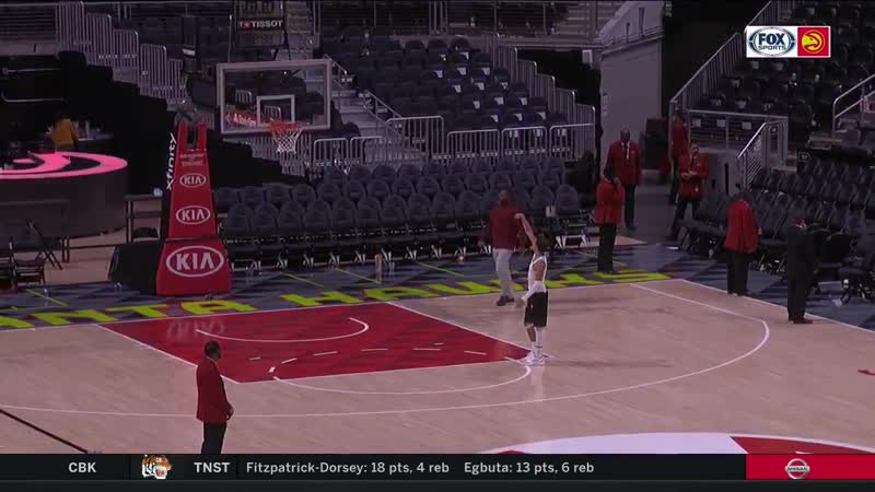 Trae Young wasnt happy with his game against Boston so he stayed late to get shots up - -