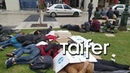 Immigrants camped outside Police Station in Thessaloniki Refugees camp at police station