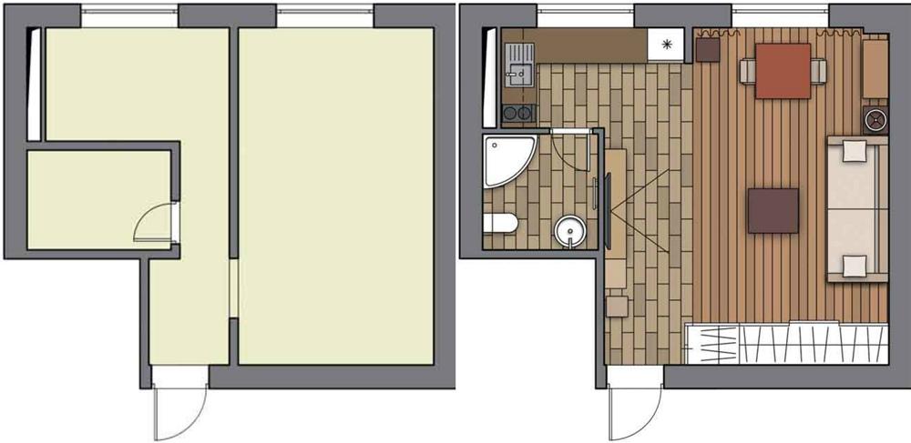 Перепланировка однокомнатной квартиры в студию 32 м.