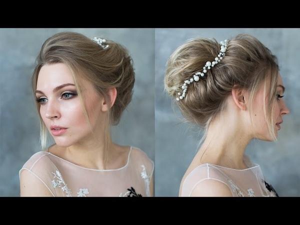Прическа для коротких волос в Бохо стиле на основе валика/ Bun hairstyle updo for shot hair