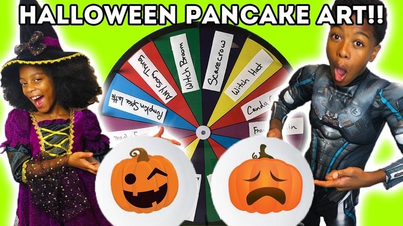 HALLOWEEN PANCAKE ART CHALLENGE (Spooky Mystery Wheel)