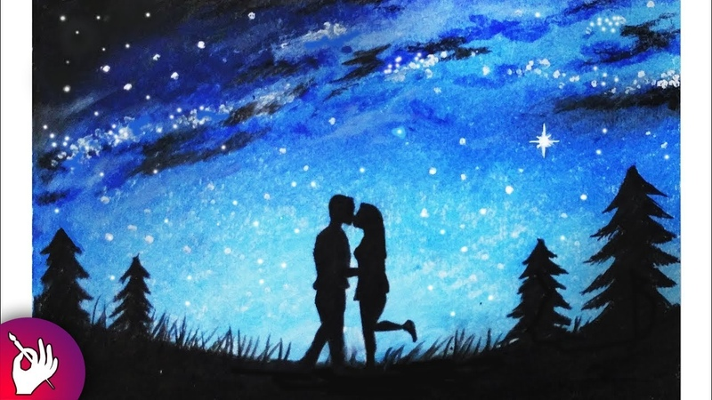 How to draw Couple moonlight scenery with oil pastels for beginners step by step