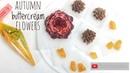 Autumn buttercream flower piping tutorial - for the autumn buttercream flower wreath wedding cake