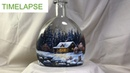 Winter Landscape Step by Step Vitrail Painting on Bottle - TIMELAPSE version
