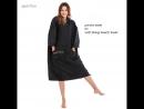 Black color plush microfiber beach towel cover up with sportfun logo embroidery superior quality
