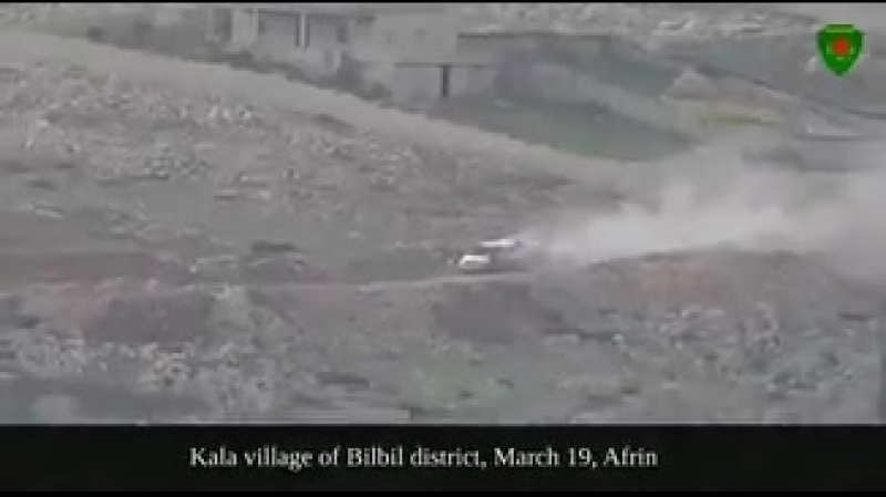 YPJ - A Vehicle belonging to the invading Turkish Army full of Ammunition destroyed - Afrin - 19. March 2018