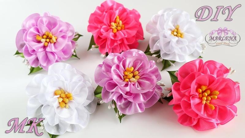 ✿ Цветы из атласных лент. Резиночки для волос. Канзаши МК/DIY