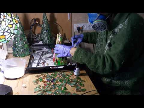 Making of sea stained glass Christmas tree