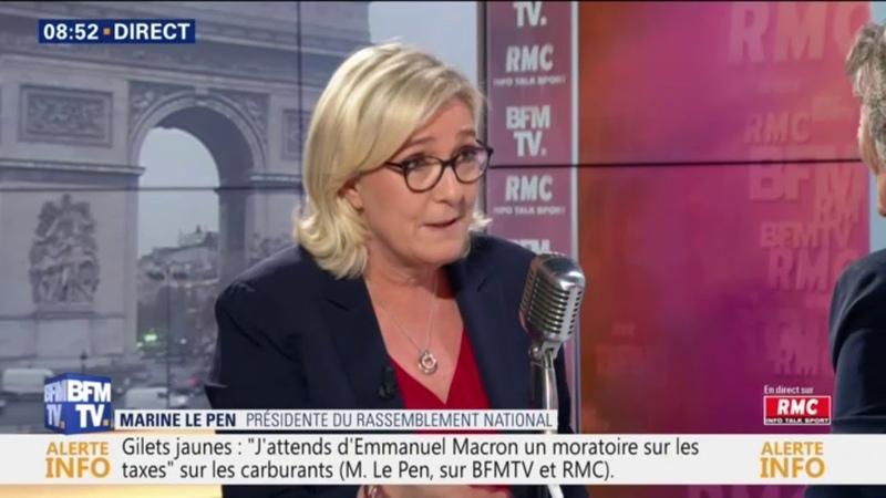 Gilets jaunes: Il faut autoriser les manifestations sur les Champs-Elysées, selon Marine Le Pen