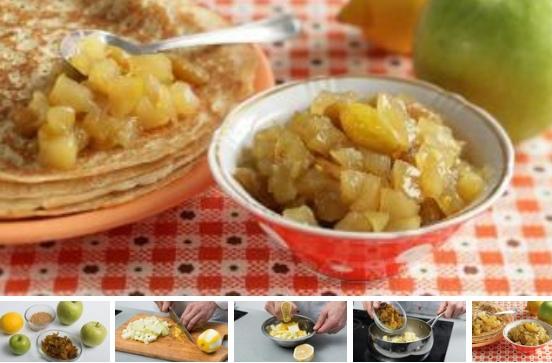 Быстрый джем из яблок с изюмом и лимоном