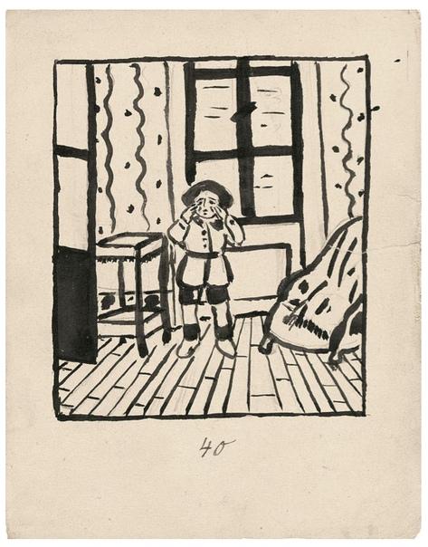 Mitsou, Balthus, 1921 Серия рисунков 12-летнего Бальтюса, повествующая о сбежавшей из дома кошки Мицу. Издано Рильке вместе с собственным