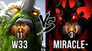 TOP-3 vs TOP-11 Miracle Shadow Fiend vs w33 Tiny EPIC LEGENDS Battle - Dota 2