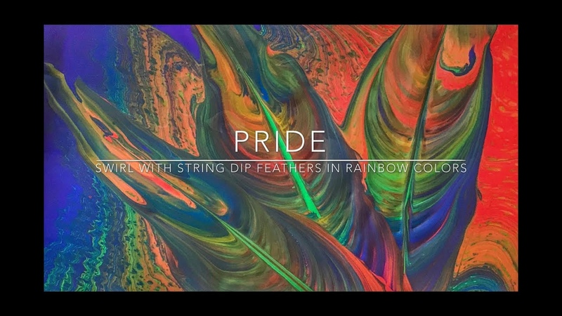 Fluid Painting - Pride - Back drop swirl pour with string dipped feathers in rainbow Colors