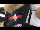 GUCCI Ace' new collection кроссовки отделка мехом ягненка золотистая вышивка с пчелой‼💣💣💣 копия люкс 1 1 ААА в комплектации