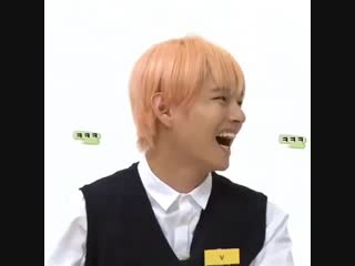 pink haired taehyung with his baby mullet, laughing like the adorable baby he is. this is