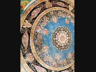 Handmade silk round rug