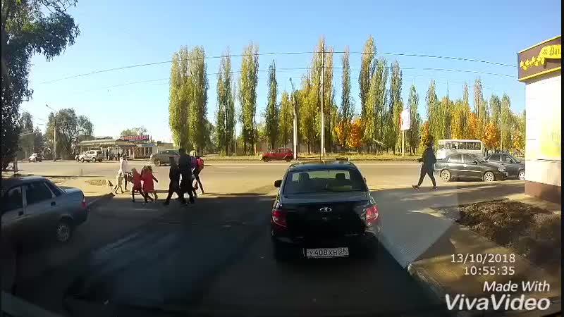 Водитель нексии сбил женщину с ребенком. ДТП Воронеж 13.10.2018